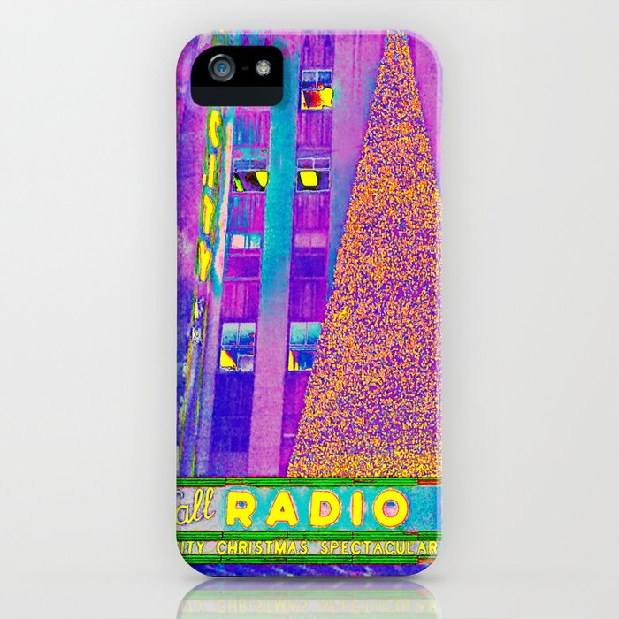 radio city music hall with holiday tree, new york city, new york iphone case