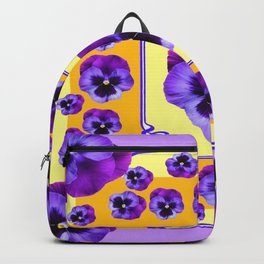 SPRING  PURPLE PANSY FLOWERS YELLOW GARDEN ART Backpack