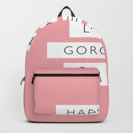 Happiness Looks Gorgeous on You pink white black typography inspirational girls bedroom wall decor Backpack