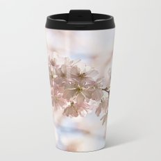 Bee and cherry branches against the blue sky Metal Travel Mug
