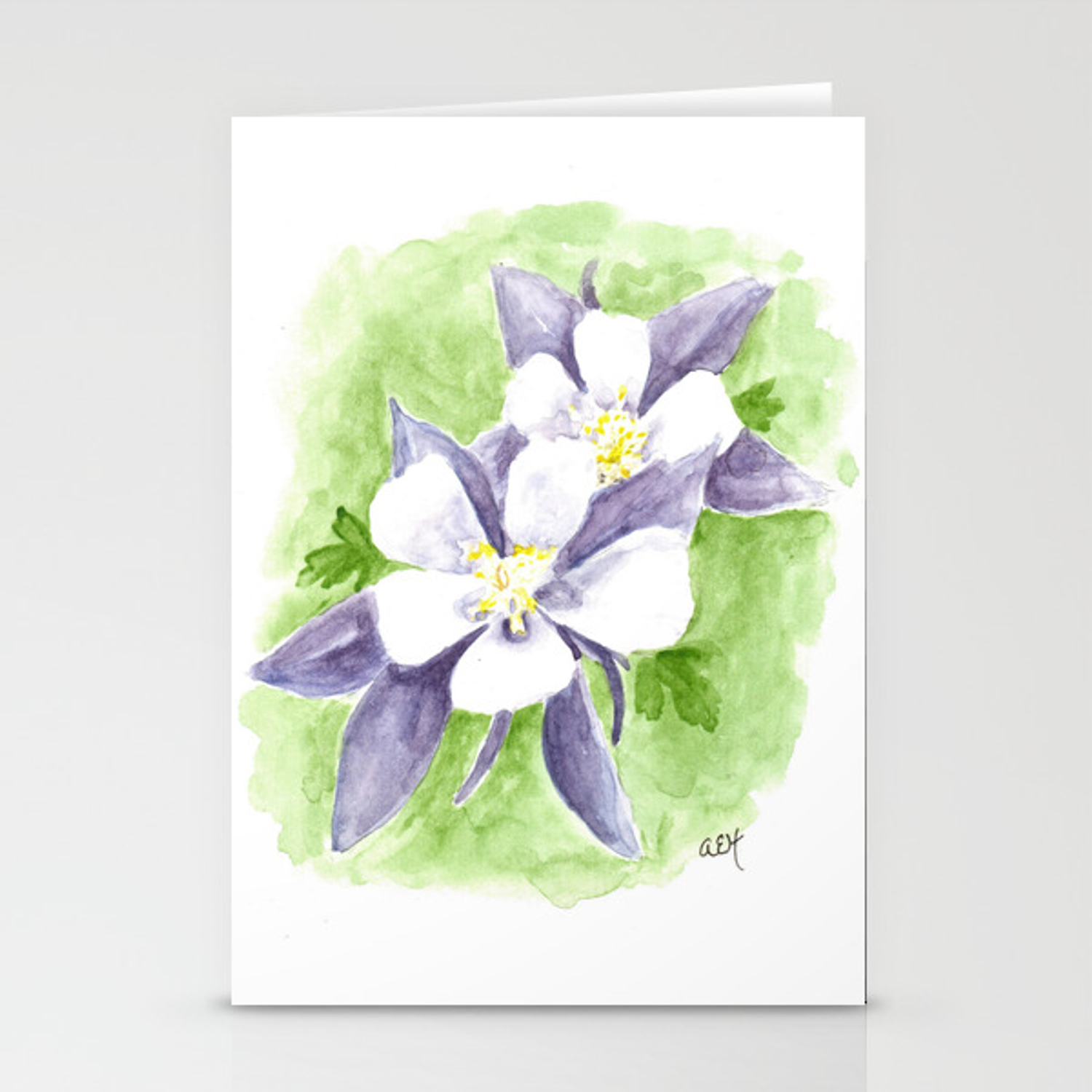 Columbine Flowers Watercolor Art Western Art Stationery Cards By