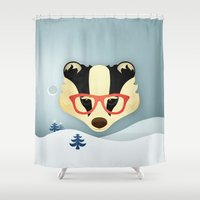 badger Shower Curtains featuring Winter Badger by Jenny Lloyd Illustration