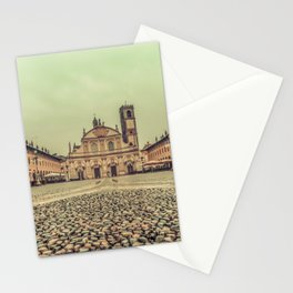 The stunning Piazza Ducale in Vigevano in autumn while raining Stationery Cards