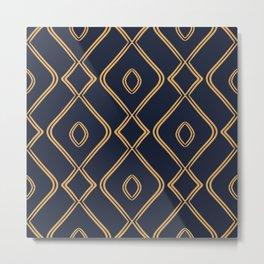 Modern Boho Ogee in Navy & Gold Metal Print