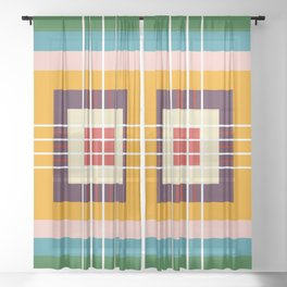 Retro Colored Abstract Shapes Sheer Curtain