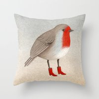 robin Throw Pillows featuring Robin by Hana Stupica