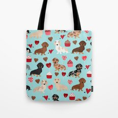 Dachsund dachsie doxie valentines day valentine hearts love cupcakes cute dog gifts Tote Bag