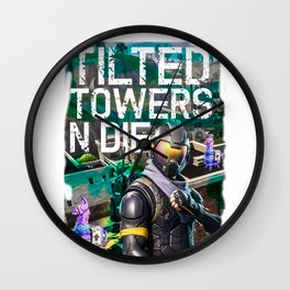 tilted towers and die print Wall Clock