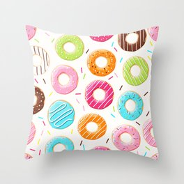 Colorful top view donuts and sprinkles pattern Throw Pillow