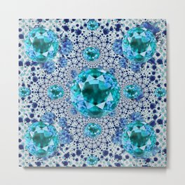 Aquamarine Gems Optical Pattern March Birthstone Art Metal Print