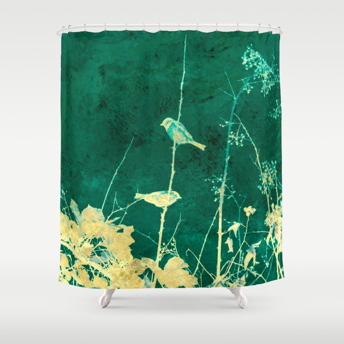 Yellow Birds on Vine Shower Curtain