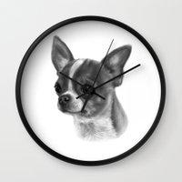 chihuahua Wall Clocks featuring Chihuahua by Danguole Serstinskaja