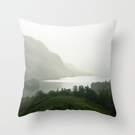 Foggy Landscape in Scottish Highlands Throw Pillow