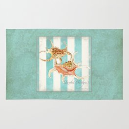 Conch Shell Striped Shabby Beach Cottage Watercolor Illustration Rug