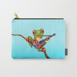 Tree Frog Playing Acoustic Guitar with Flag of Slovakia Carry-All Pouch