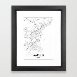 Minimal City Maps - Map Of Aarhus, Denmark. Framed Art Print