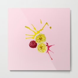 watercolor pink and yellow flowers Metal Print