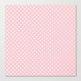 White Pointed Stars on Millennial Pink Pastel Canvas Print