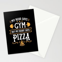 My Head Says Gym But My Heart Says Pizza (Typography) Stationery Cards