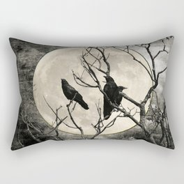 Black White Crows Birds Tree Moon Landscape Home Decor Matted Picture Print A268 Rectangular Pillow