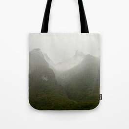 mountain top in the clouds of Norway Tote Bag