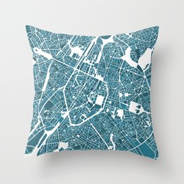 Brussels City Map I Throw Pillow