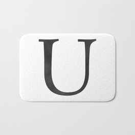 Letter U Initial Monogram Black and White Bath Mat
