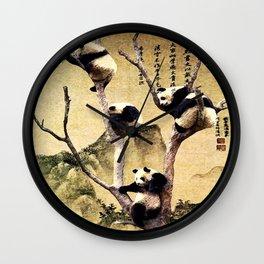 A Flock of Pandas Wall Clock