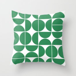 Mid Century Modern Geometric 04 Green Throw Pillow