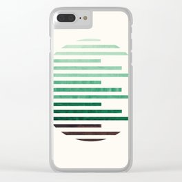 Mid Century Modern Minimalist Circle Round Photo Aquamarine Teal Green Staggered Stripe Pattern Clear iPhone Case