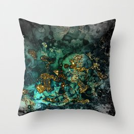 Gold Indigo Malachite Marble Throw Pillow