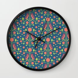 Owl Folk Art Pattern Wall Clock