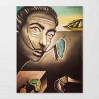 salvador dali Canvas Prints featuring Salvador Dali by Kimberly Faye