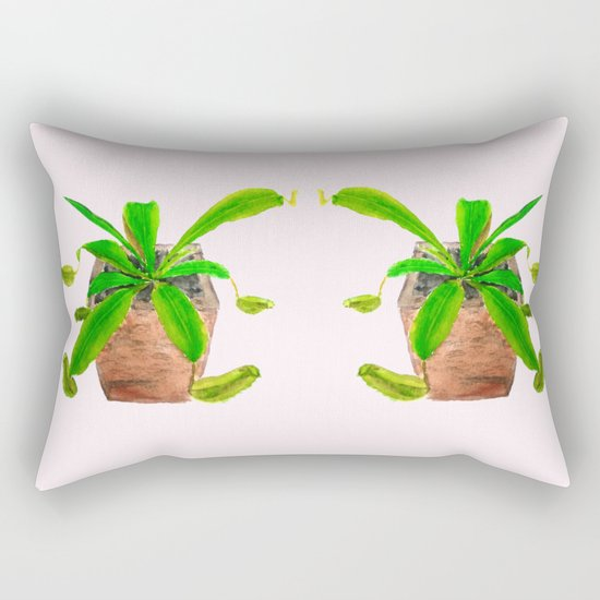 tropical pitcher plant watercolor painting Rectangular Pillow