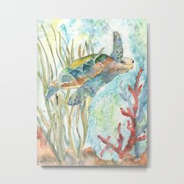 Underwater Fantasy Sea Turtle Metal Print
