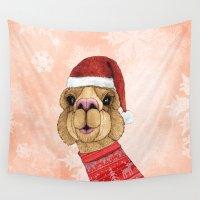alpaca Wall Tapestries featuring Alpaca Christmas by Barruf