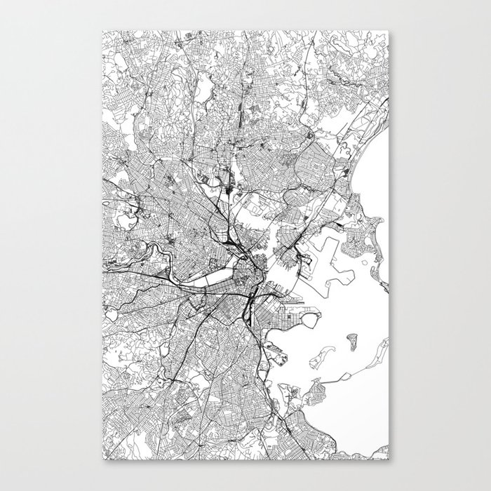 Boston White Map Leinwanddruck