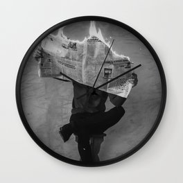 News on Fire (Baclk and White) Wall Clock