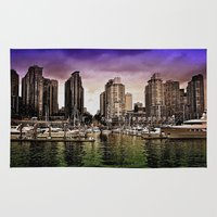 vancouver Area & Throw Rugs featuring Vancouver Storm by Anthony M. Davis