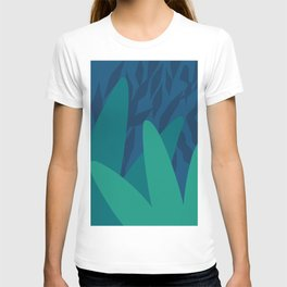 Tropical Nights , Modern Abstract Art in Dark Blue and Mint Teal Green Underwater Colors T-shirt