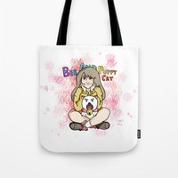 puppycat Tote Bags featuring Bee and Puppycat by diana benitez