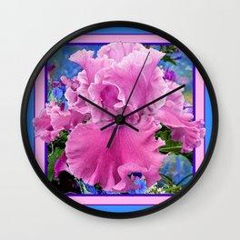 Pink Frilly Iris Garden Blue-Pink Abstract Design Wall Clock
