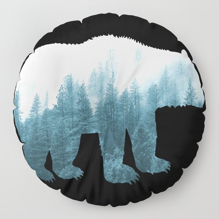 Misty Forest Bear - Turqoise Floor Pillow