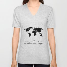 Printable Art,Not All Who Wander Are Lost,Map Of The,World,Wall Art,Home Decor,Travel Unisex V-Neck