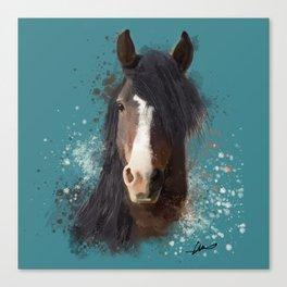 Black Brown Horse Artwork Canvas Print