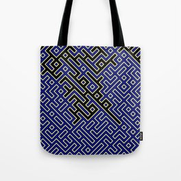 labyrinth in black and blue Tote Bag