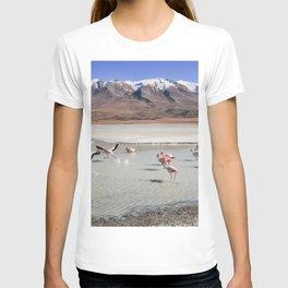 Flamingos - Landscape - Bolivia - Lagoons - Birds - Mountain. Little sweet moments. T-shirt