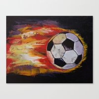 soccer Canvas Prints featuring Soccer by Michael Creese