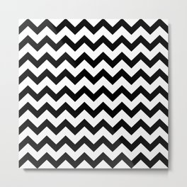 Chevron (Black & White Pattern) Metal Print