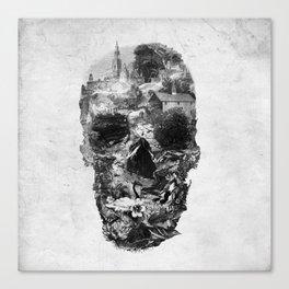 Town Skull B&W Canvas Print